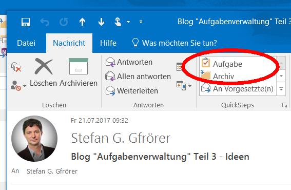 Quickstep E-Mail zu Aufgabe